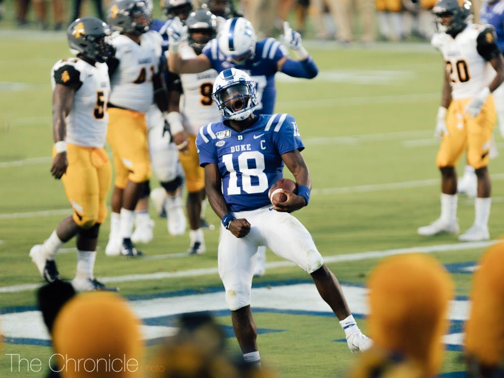 <p>Quentin Harris had a brilliant night for Duke, particularly taking a liking to freshman wideout Jalon Calhoun.</p>