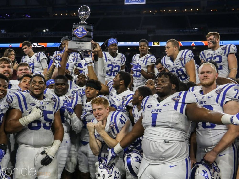 Duke football won the Quick Lane Bowl in Detroit last season, just the fifth-ever bowl win for the school, but its second in three seasons.