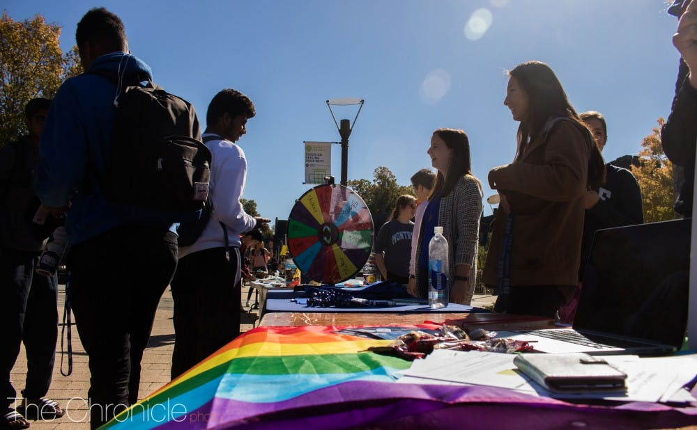 <p>National Coming Out Day festivities were held on the B.C. Plaza this year.&nbsp;</p>