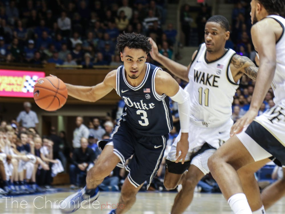 <p>Tre Jones conducted a masterpiece Saturday night, with his 23 points and five assists helping the Blue Devils piece together one of their best offensive showings of the season.</p>