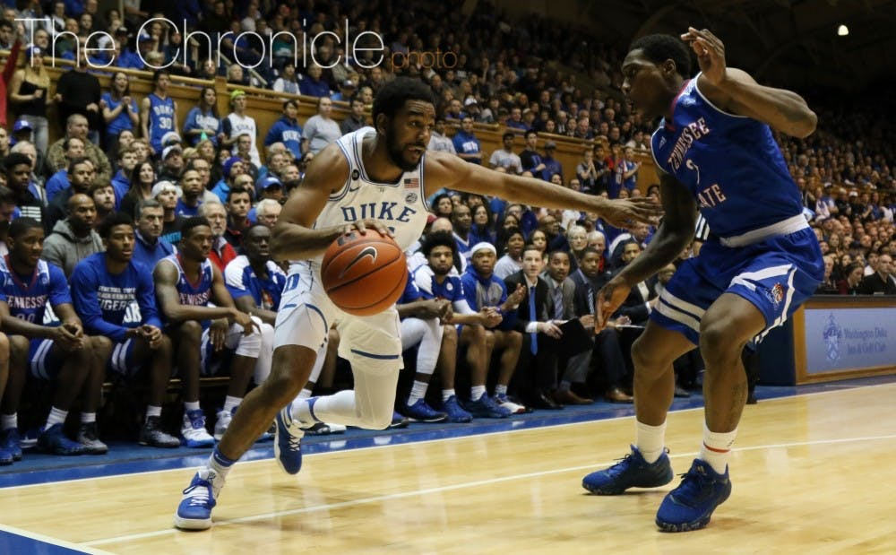 <p>Senior Matt Jones and Duke's veterans have played big minutes through nonconference play&mdash;a factor to watch as the Blue Devils start ACC play Saturday.&nbsp;</p>