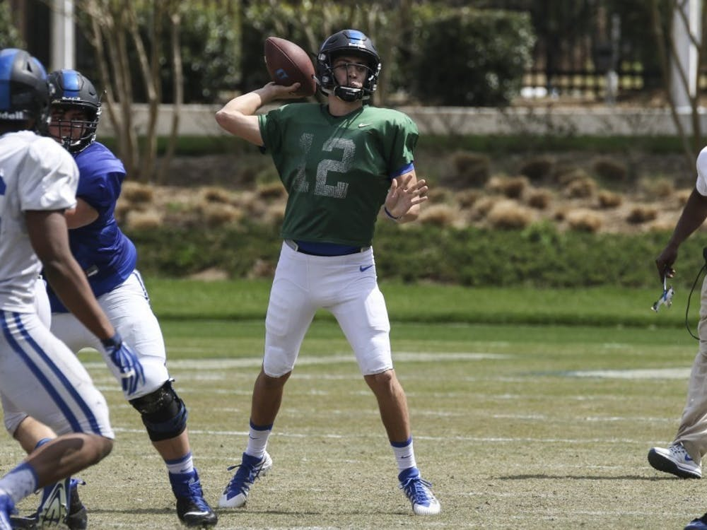 Sophomore quarterback Gunnar Holmberg was expected to compete with Chris Katrenick for snaps behind center behind Quentin Harris.