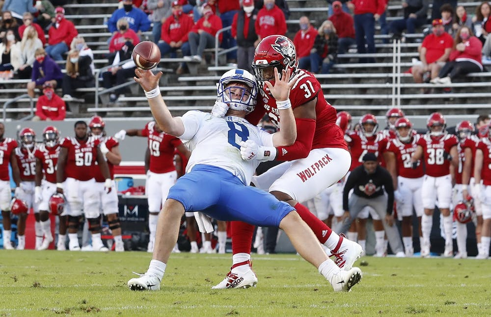 Quarterback Chase Brice was sacked four times in Saturday's loss at N.C. State.