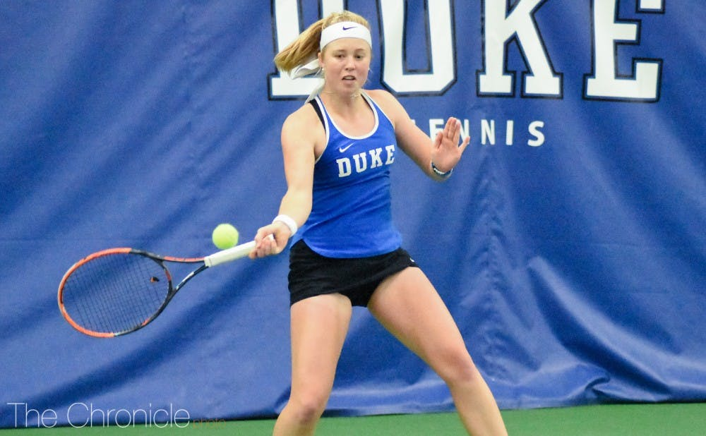 <p>Senior Kaitlyn McCarthy was one of three Blue Devils not to drop a match this weekend.</p>