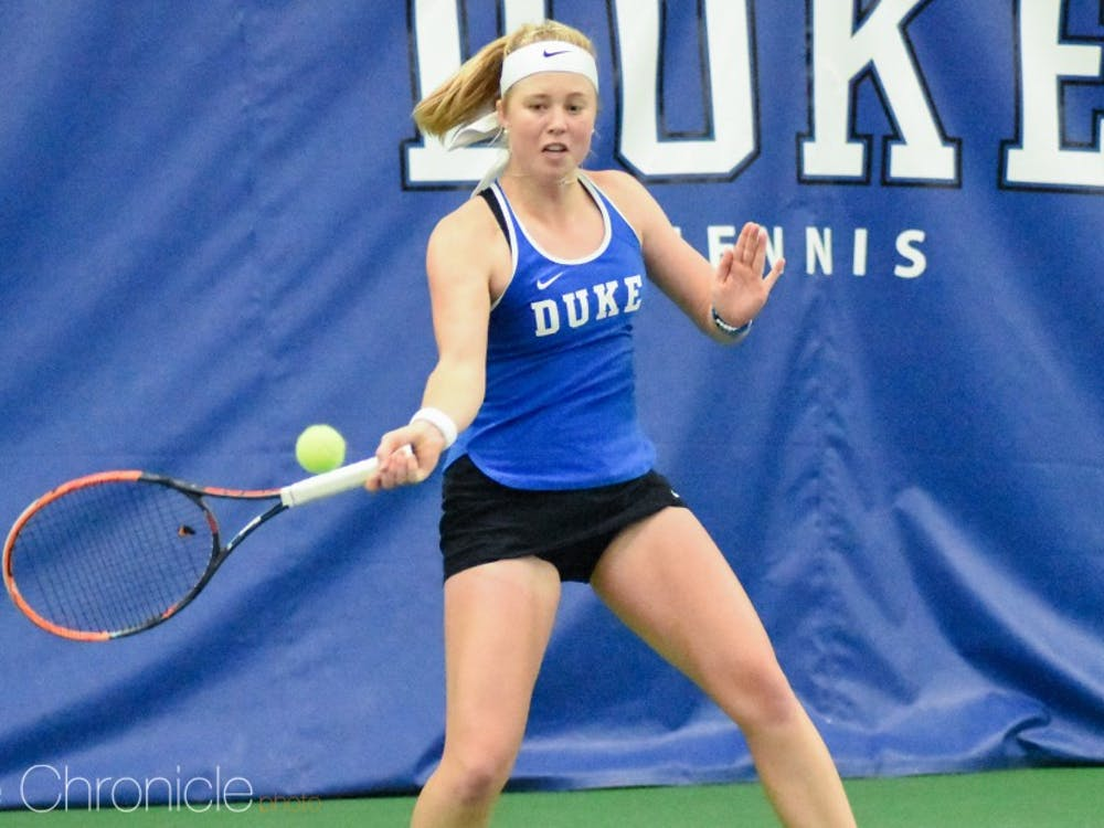 Senior Kaitlyn McCarthy was one of three Blue Devils not to drop a match this weekend.