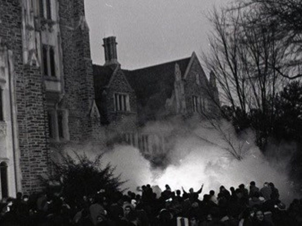 Tear gas outside the Allen Building on February 13, 1969. Courtesy of Duke Online Exhibits.