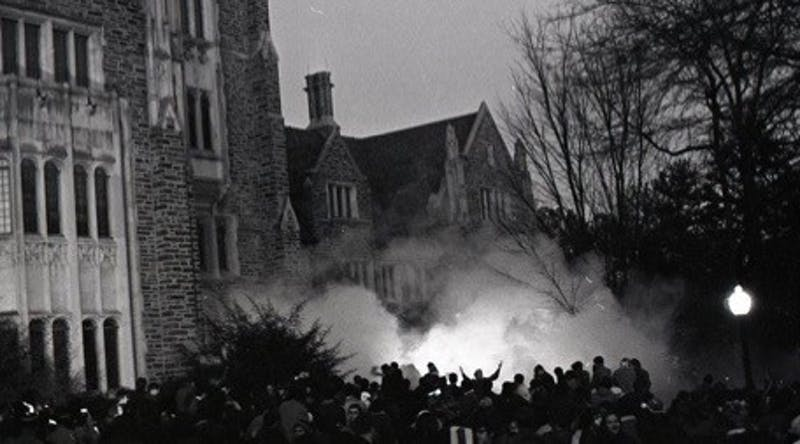 Tear gas outside the Allen Building on February 13, 1969. Courtesy of Duke Online Exhibits.
