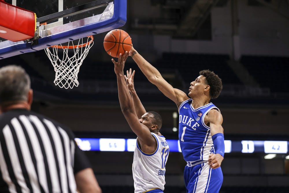 Johnson made a number of critical blocks to keep Duke in the contest against Pittsburgh.