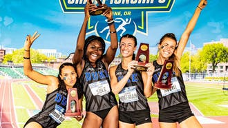Elena Brown-Soler, Iman Sule, Lauren Hoffman and Brittany Aveni broke the school record and finished seventh in the 4x400m relay at the NCAA Outdoor Championships.