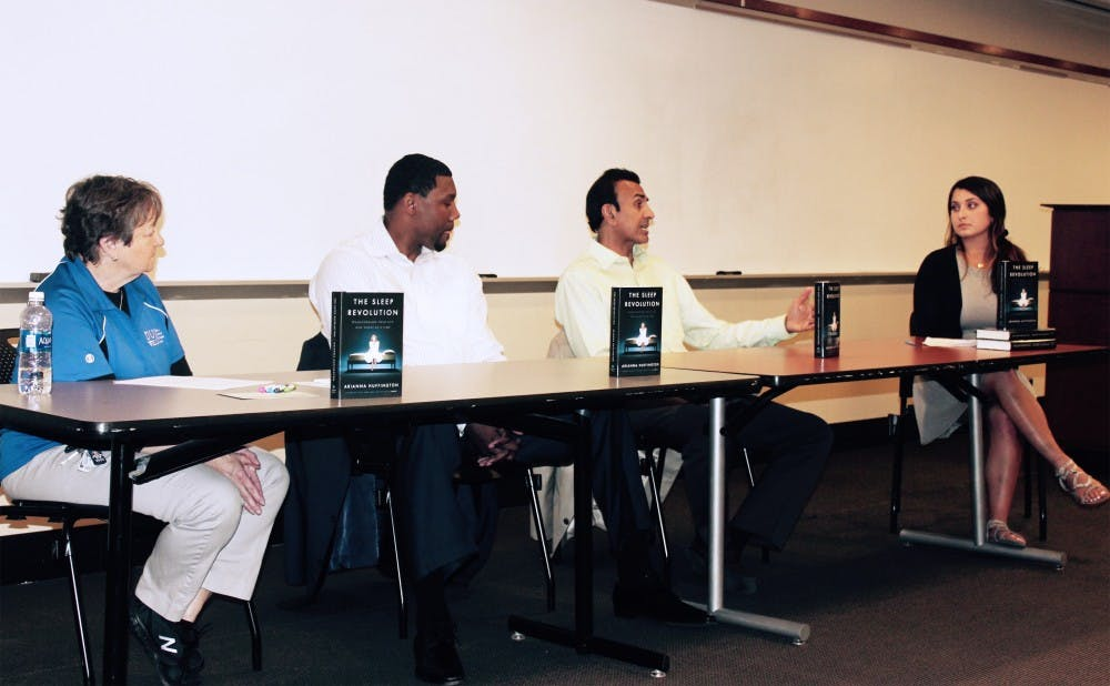 <p>Duke community members discuss the importance of sleep at a panel sponsored by The Huffington Post Monday.</p>
