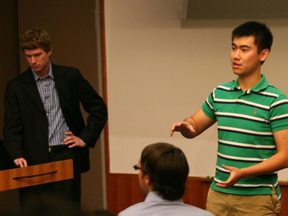 As SOFC Chair David Hu, a junior, proposes the chartering of  Duke Wealth Management, DSG debated on the role SOFC should play in the group chartering process during its meeting Wednesday.