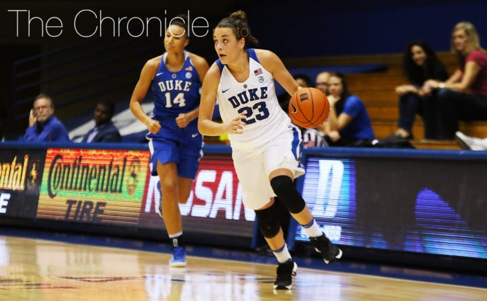 <p>Junior Rebecca Greenwell is expected to lead Duke this season and poured in 26 points during Sunday's scrimmage.</p>