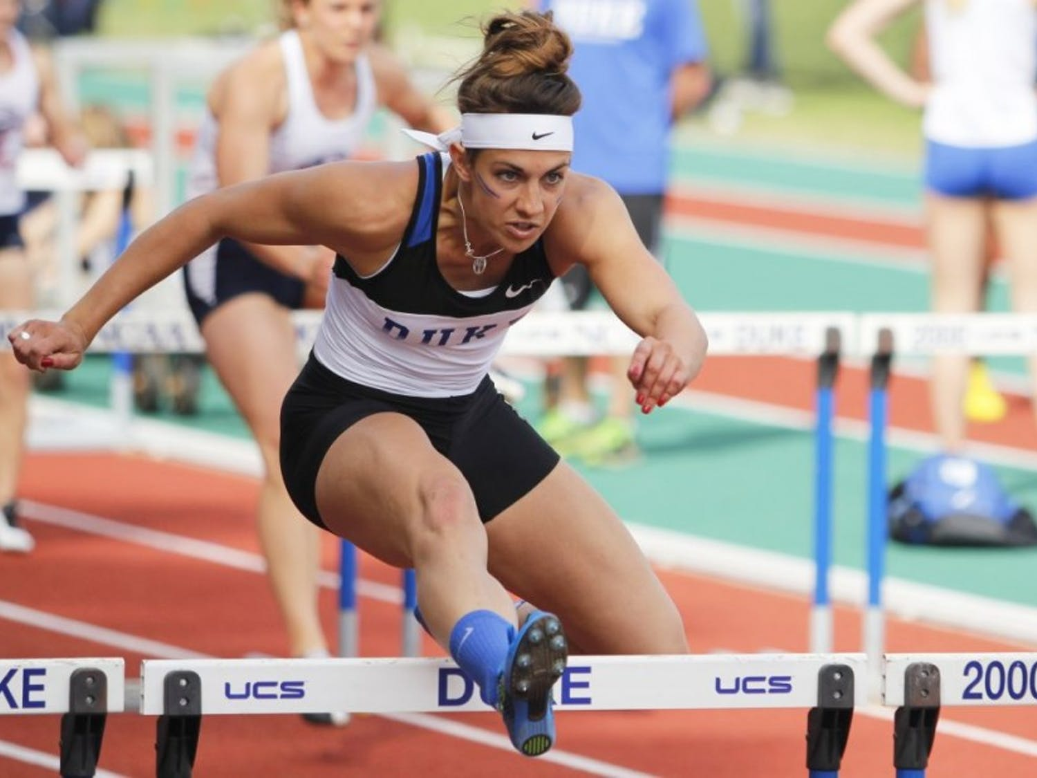 Teddi Maslowski barely missed out on the finals of the 100-meter hurdles but helped Duke's 4-x-200 meter relay team finish fifth overall and record the third-fastest time in program history at 1:35.64.