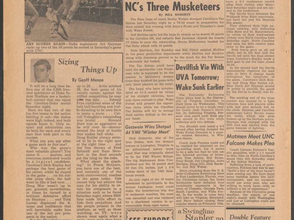 Although The Chronicle did not make a big deal of a 1961 melee against North Carolina, star forward Art Heyman's lengthy suspension derailed Duke's season.