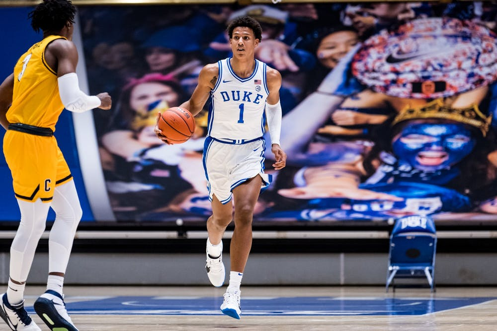 <p>Jalen Johnson paced the Blue Devils throughout Saturday's season-opener against Coppin State.</p>