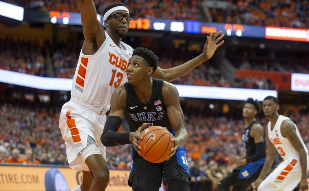<p>R.J. Barrett gave Duke a major offensive boost Saturday, putting up yet another 30-point performance.</p>