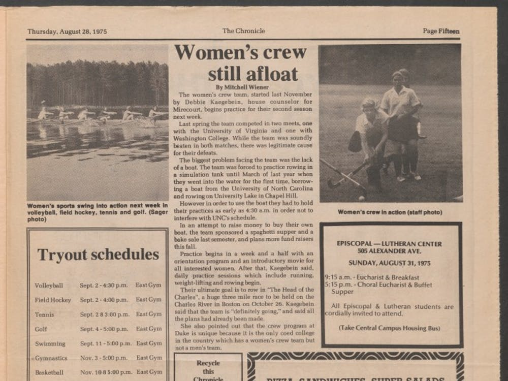 """An oldarticle in The Chronicledescribedthe women's clubrowing team's struggles without a boat, though one photo captioned """"crew in action""""mistakenly depictedfield hockey."""