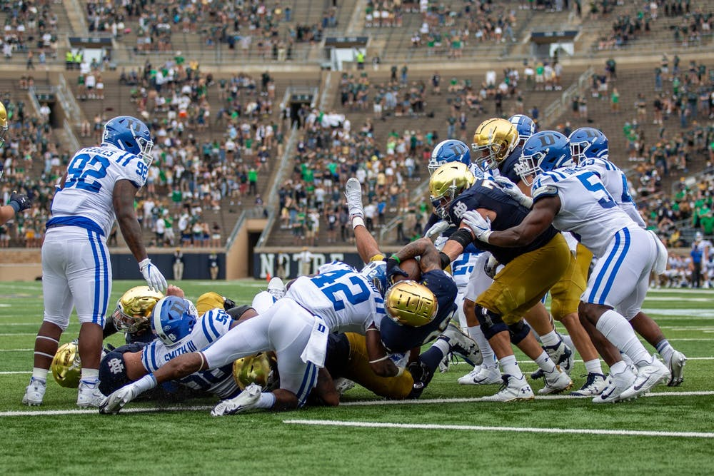 <p>Notre Dame started slow, but eventually pulled out the comfortable victory in the Blue Devils' season opener.</p>
