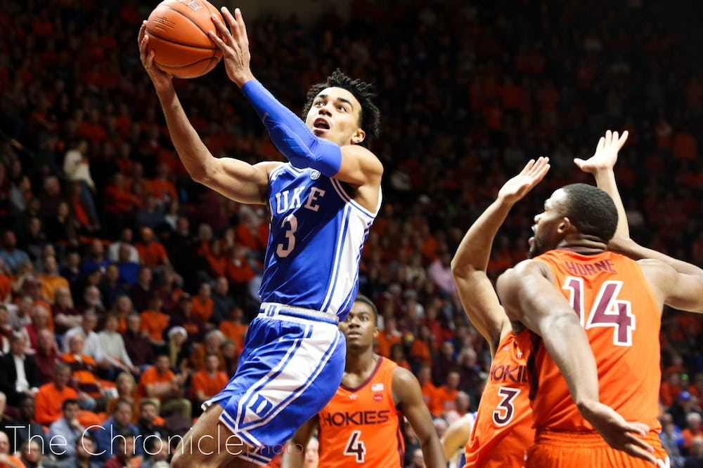 <p>Tre Jones led the Blue Devils to two big road wins over Michigan State and Virginia Tech this week.</p>