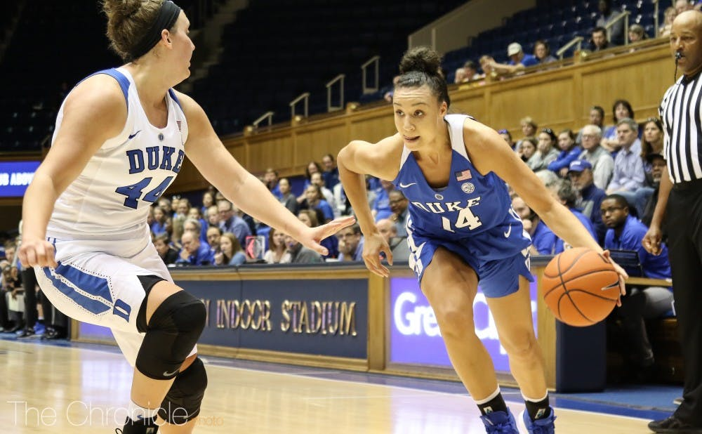 <p>Faith Suggs is the lone true senior on the Blue Devils roster this season.&nbsp;</p>