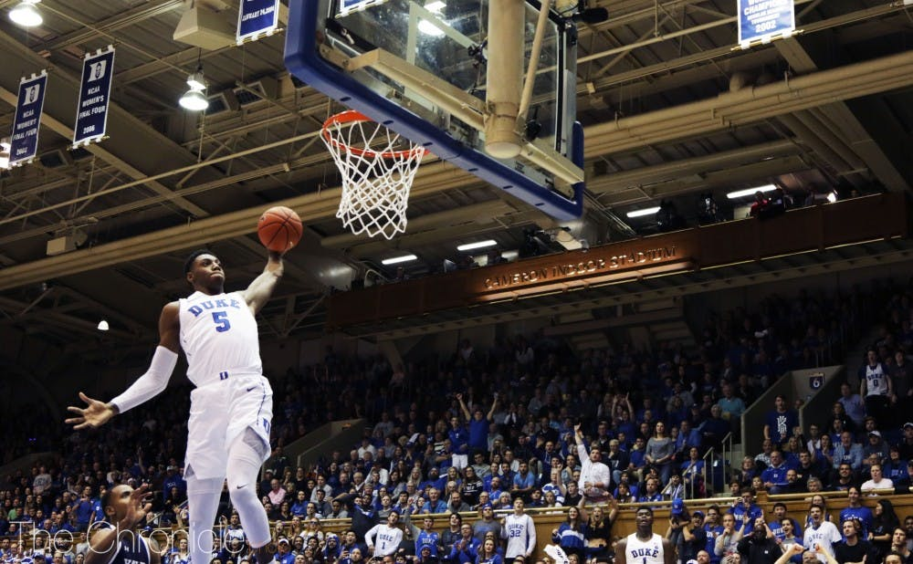 <p>R.J. Barrett ignited the crowd with a first half slam Saturday.</p>