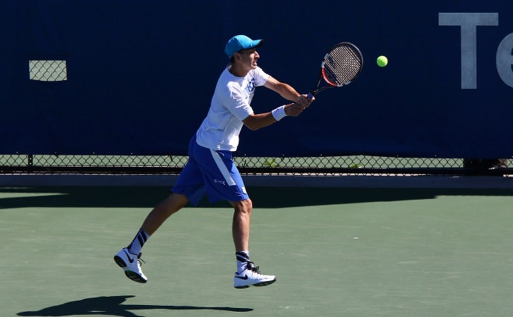 <p>Sophomore Nicolas Alvarez was the lone Blue Devil to notch a singles win Sunday against North Carolina, heading into the postseason riding a three-match winning streak.</p>
