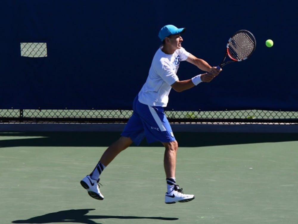 Sophomore Nicolas Alvarez was the lone Blue Devil to notch a singles win Sunday against North Carolina, heading into the postseason riding a three-match winning streak.