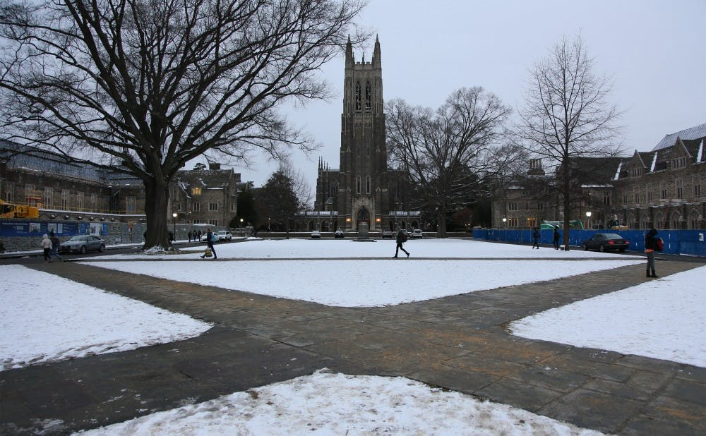 <p>Duke's snowy campus, which will be left without students this year for a record-long break.</p>