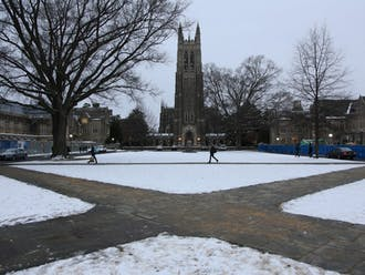 Duke's snowy campus, which will be left without students this year for a record-long break.