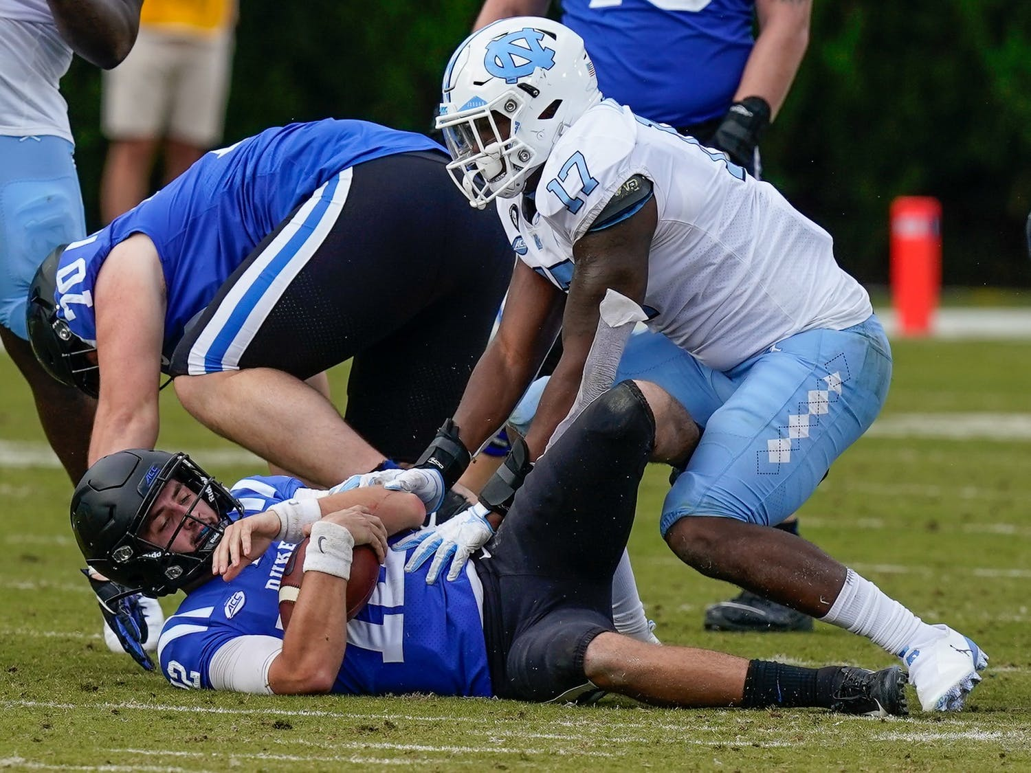 Pass protection was one of many problems Duke had on Saturday, giving up five sacks on the afternoon.
