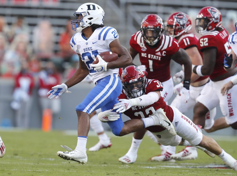 Duke running back Mateo Durant is once again having tremendous success on the ground, already going over 100 yards in the first half.