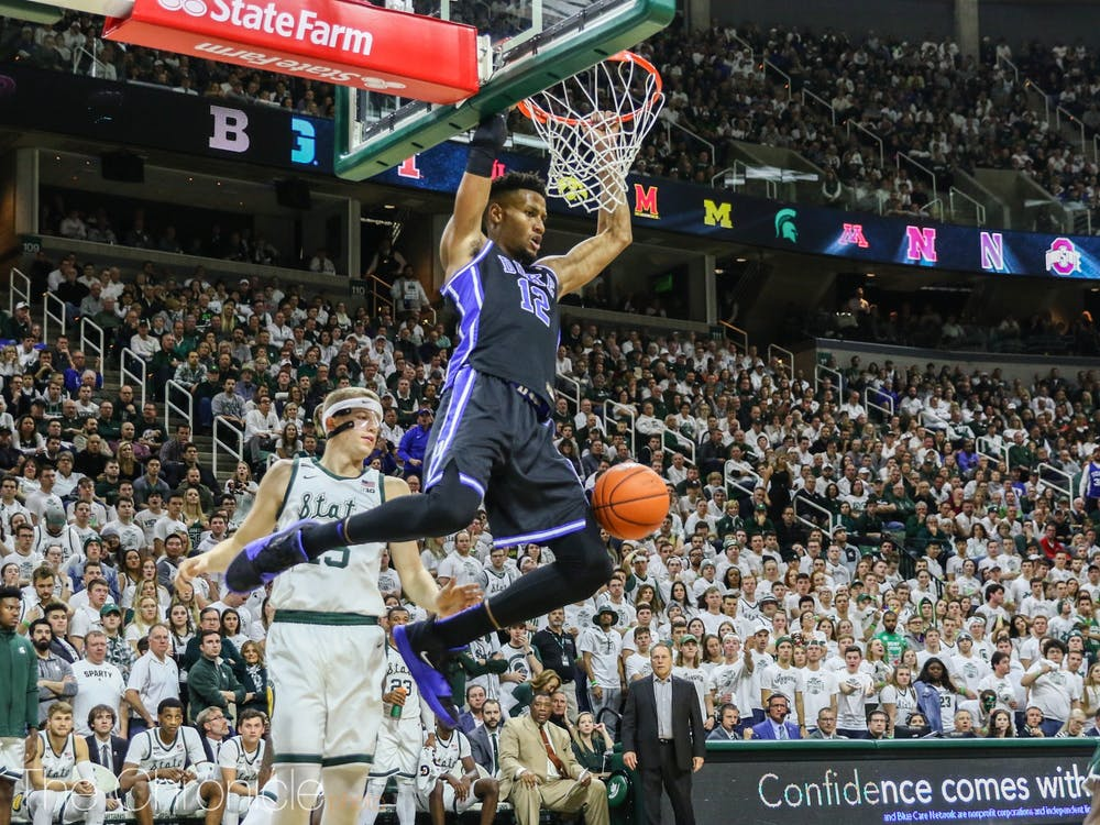 Duke's senior center, Javin DeLaurier also had a tremendous showing, as he helped lead his team to a double-digit victory over Michigan State.  (Photo: Bre Bradham/The Chronicle.)