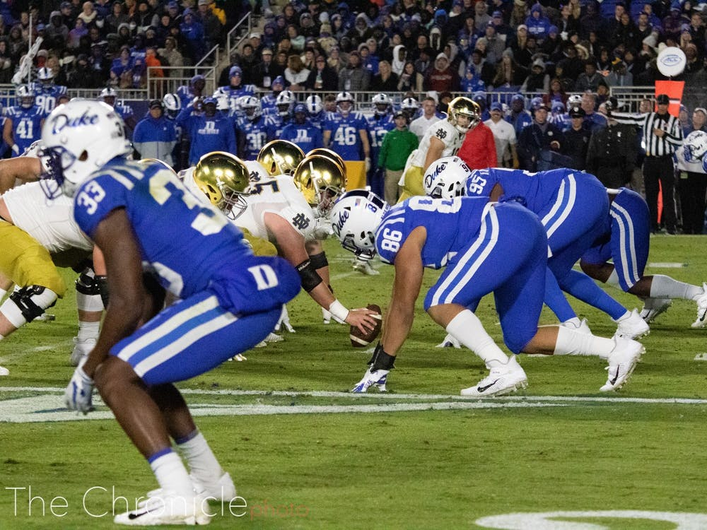 The battle between Notre Dame's offensive line and Duke's defensive line will likely indicate who comes out with the win Saturday.