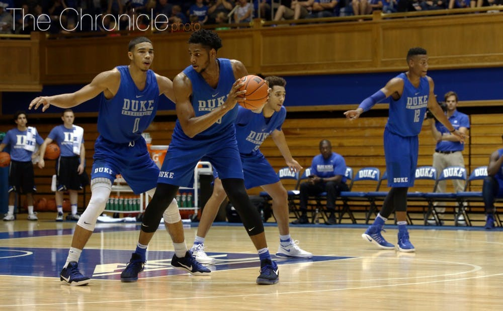 <p>Marques Bolden provides a presence down low for Duke.</p>