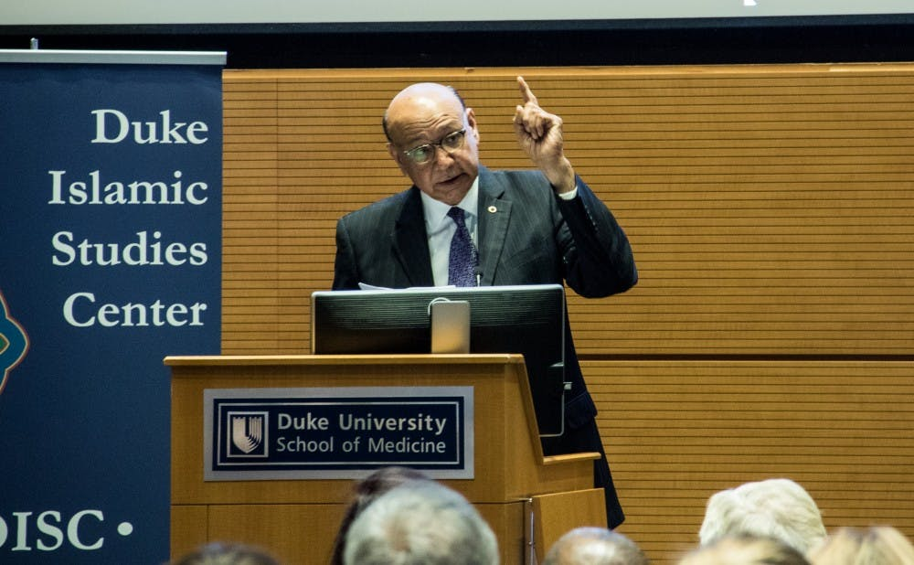 <p>Khizr Khan, who visited Duke Thursday night, is famous for offering to lend a pocket-size version of the Constitution to Donald Trump.</p>