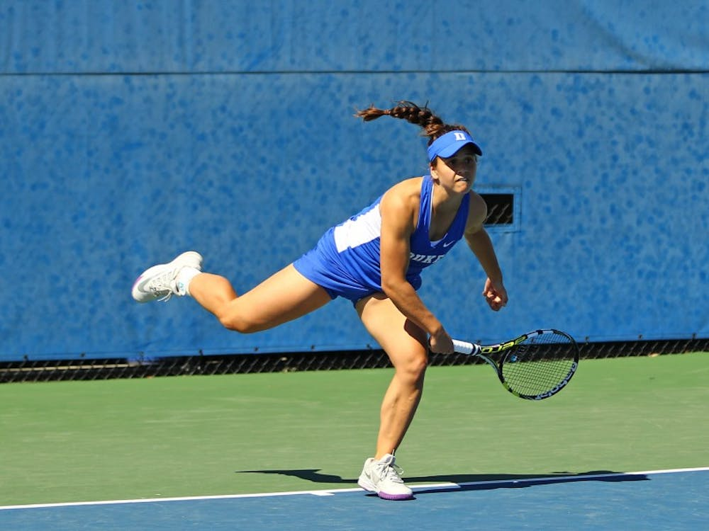 Samantha Harris was the only Blue Devil to record a singles victory in the team's 4-1 loss to rival North Carolina Tuesday.