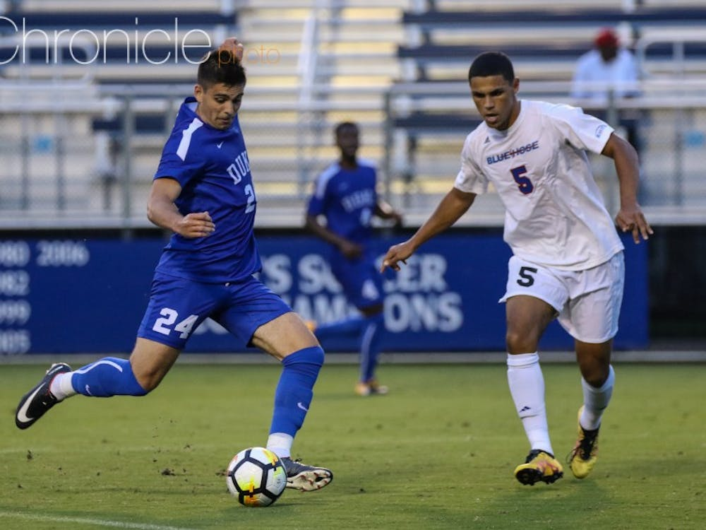 Brian White scored his third goal of the season in between two second-half weather delays, but Duke could not hold on for the win.