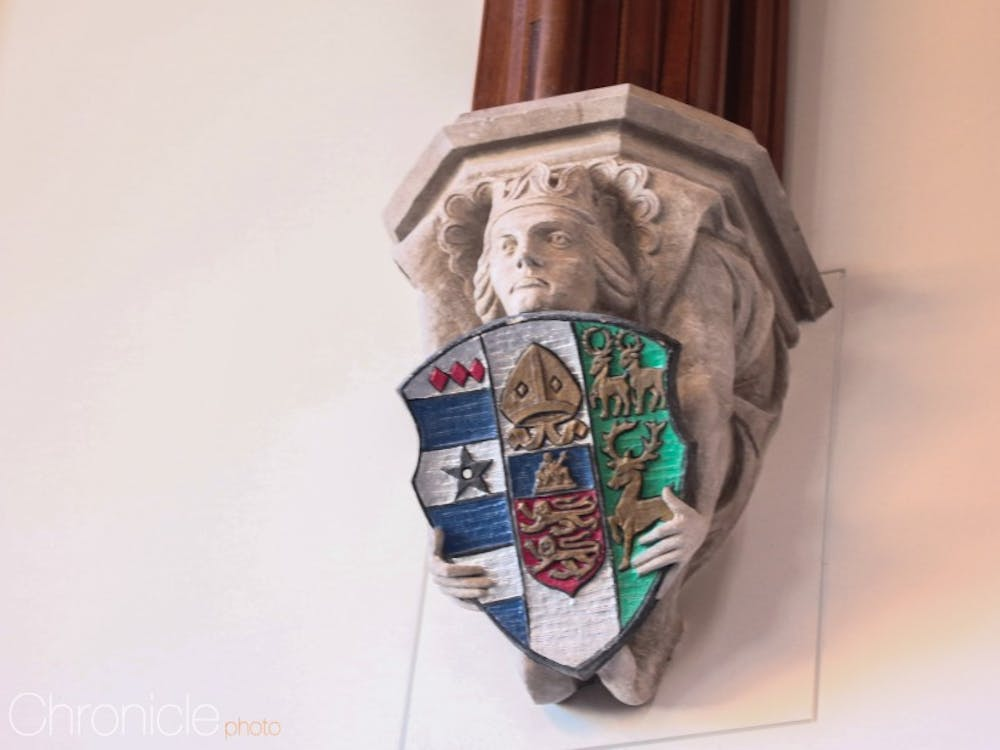 Here are a few of the most interesting crests on the exterior of and inside the Brodhead Center for Campus Life.