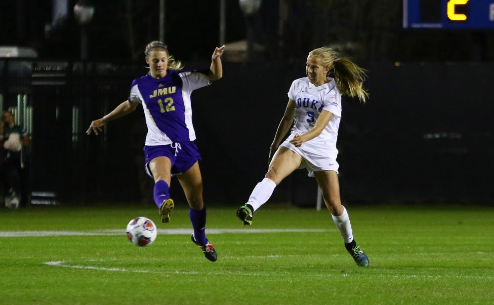 <p>Junior Rebecca Quinn evened the score for the Blue Devils Sunday after Florida jumped out to a 1-0 first-half lead.</p>
