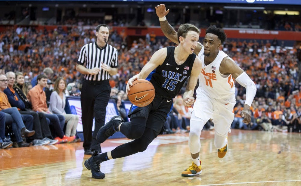 <p>Alex O'Connell knocked down five 3-pointers and scored a career-high 20 points at Syracuse.</p>