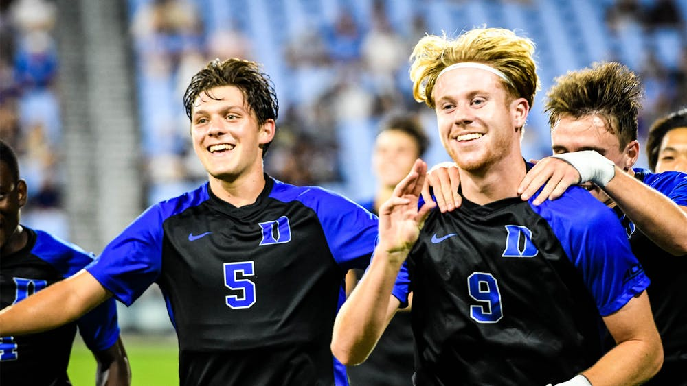 Scotty Taylor (right) notched his second career goal in the Blue Devils' 3-0 victory in Chapel Hill.