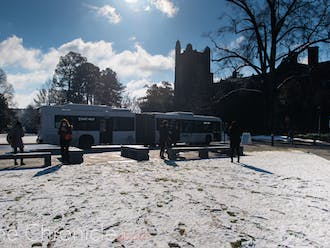 Wednesday brought the first campus snowfall of the semester.