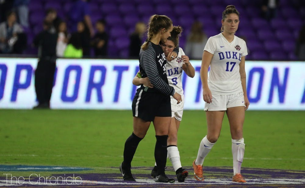 Kat McDonald missed her penalty kick in the last round of Friday night's shootout against UCLA.