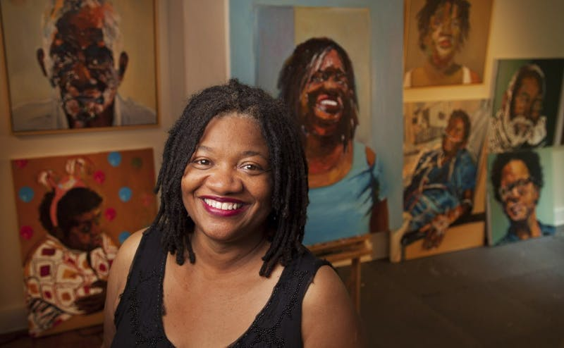 Beverly McIver, new professor in art, art history and visual studies, at her studio in her Durham home.