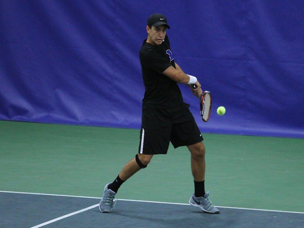 Freshman Nicolas Alvarez and the Blue Devils qualified for the ITA Men's Team Indoor Championship with Saturday sweep.