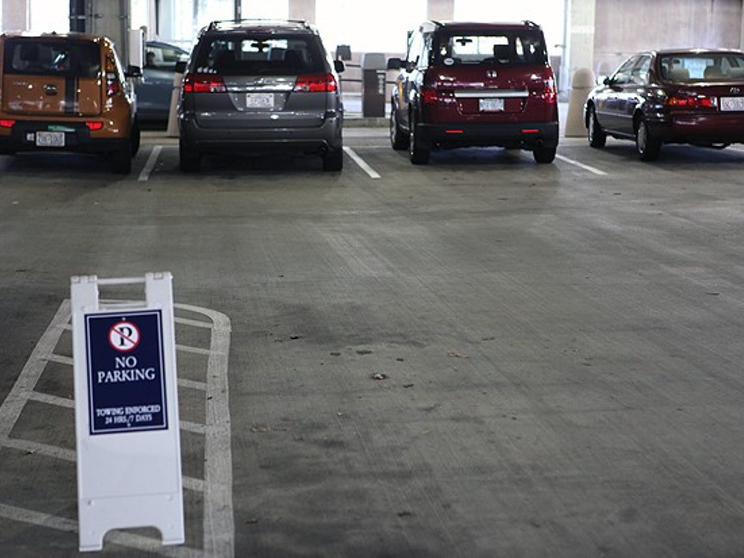 Students are not allowed to park in the Bryan Center garage in an effort to open up spaces for campus visitors.