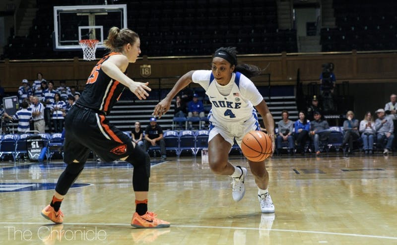 Lexie Brown will have to lead Duke without most of her backcourt teammates Tuesday.