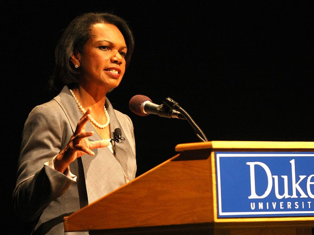 Former Secretary of State Condoleezza Rice, spoke to a full house in Page Auditorium Tuesday.