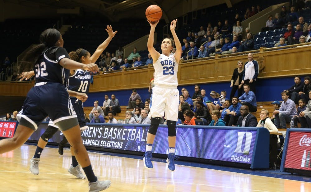 <p>Redshirt junior Rebecca Greenwell scored 15 first-half points as the Blue Devils opened up a 36-point halftime&nbsp;lead.</p>