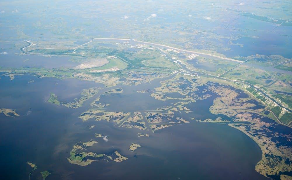A Duke team is studying how coastal wetlands—such as these Louisiana wetlands—could serve as a buffer for hurricane damage. | Courtesy of NASA